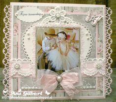 Hallo Allemaal,   Mam, heb jij nog een trouwkaart liggen? nee, dat niet, maar ik kan er wel een voor je maken..  Misschien iets in het lila... Homemade Wedding Cards, Shabby Chic Cards, Scrapbooking Layouts, Wedding Engagement, Birthdays, Anniversary, Joy, Frame, Crafts