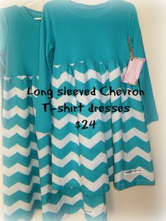 Chevron Teal and White Tshirt dress for little by KeepersAtHome10, $24.00