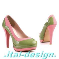 Pink and green platform heels