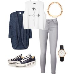 A fashion look from August 2014 featuring Vero Moda cardigans, 7 For All Mankind jeans e Converse sneakers. Browse and shop related looks.