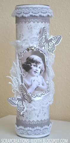 scrapcreations-judith Diy And Crafts, Arts And Crafts, Paper Crafts, Pringles Can, Invitation Card Birthday, Shabby Chic Fabric, Altered Tins, Painted Jars, Tin Cans