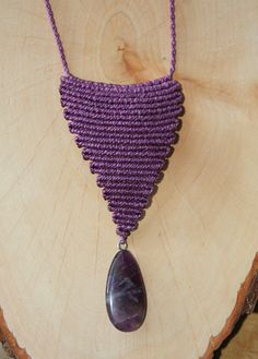 Amethyst Stone and Purple Macrame Necklace | Flickr - Photo Sharing!