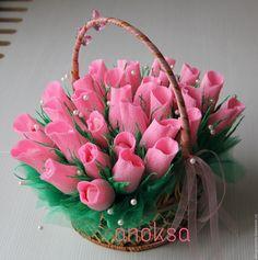 """Купить Подарок """"сладкий букет роз"""" - бледно-розовый, букет роз, сладкий букет"""