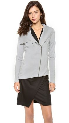 HELMUT Helmut Lang Villous Jersey Jacket. I have this in both colors, such a fashionable update on a zip-up sweatshirt!