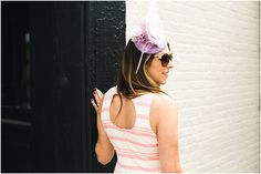 Kentucky Derby Style: Oaks Ready Rain or Shine * Lou What Wear * Cupcakes & Cashmere pink stripe dress * Headcandi Fascinator
