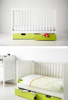 STUVA MÅLAD drawers come in a range of colors to work with your space and fit neatly beneath the STUVA crib/toddler bed for convenient storage.