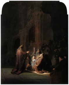 "REMBRANDT ""Presentation of Jesus in the Temple"" 1631, Oil on panel, 61 cm x 48 cm, Mauritshuis, The Hague"