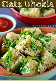 Oats Dhokla -Indian fusion streetfood Oats dhokla is a yummy starter.Great way of enjoying oats desi style. Chicken Samosa Recipes, Veggie Recipes, Vegetarian Recipes, Cooking Recipes, Vegetarian Starters, Veggie Meals, Snacks Recipes, Veggie Food, Curry Recipes