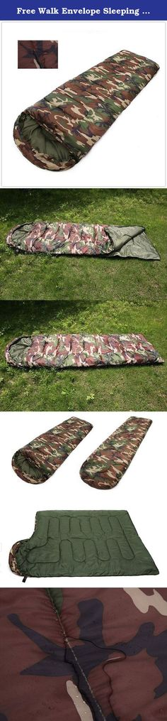 """Free Walk Envelope Sleeping Bag 3.6 pounds Warm 3 Season Easy to carry Outdoor Sports Camping Hiking Camouflage color. Shape: envelope hood,Water resistant and ripstop 190T polyester shell fabric. Size 190cm long + 30cm top and 75cm wide. 86.6"""" x 29.5"""",.Weight 3.6 lbs., Pack Size 16"""" x 9.8"""" x 9.8"""". Great multi-use product for Survival, backpacking, biking, scouts, camping, perfect for all Guide and Outfitters. Full zip open, can be used as a quilt,a mat or a blanket. Easy to compress…"""