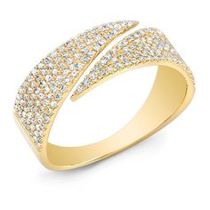 Anne Sisteron  14KT Yellow Gold Diamond Full Spike Wrap Ring (19.911.995 IDR) ❤ liked on Polyvore featuring jewelry, rings, gold, diamond jewelry, spike ring, yellow gold rings, diamond wrap ring and wrap jewelry
