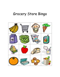 Grocery store bingo- for take home activity