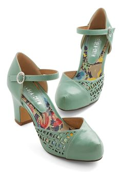 Vivacious Visit Heel in Mint. As soon as you cross the threshold in these mint heels from Chelsea Crew, youre greeted with elation, first for your mere presence, and next for your shoes. #mint #wedding #modcloth