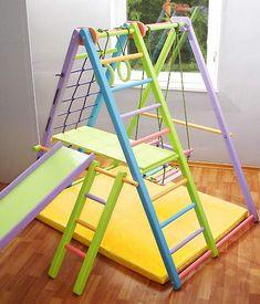 Dani Wooden Playground for Kids SportPlanet - Indoor Gym Set: Ladder, Swing, Slide and Rings Toddler Indoor Playground, Kids Indoor Gym, Indoor Playroom, Playground Slide, Toddler Playroom, Toddler Bed, Playroom Design, Kids Room Design, Playroom Ideas