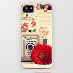 Retro Camera and Red Flower (Retro and Vintage Still Life Photography) iPhone Case by andreka Samsung Galaxy S4 Cases, Iphone 5c Cases, 5s Cases, Cool Phone Cases, Iphone 5s, Phone Covers, Iphone Photography, Life Photography, Hipster Accessories