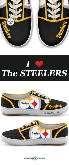 Step up your Steelers pride with winning sneakers! Custom-designed with team logos, colors and a metallic logo charm, these NFL-licensed women's shoes are a must for Pittsburgh Steelers fans.