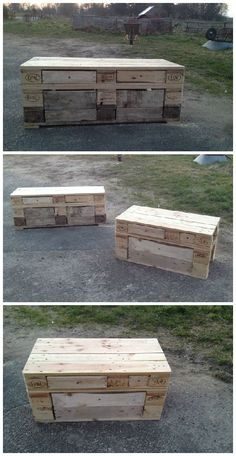 Pallet Benches With Storage Drawers #Drawers, #Kitchen, #PalletBench, #RecyclingWoodPallets