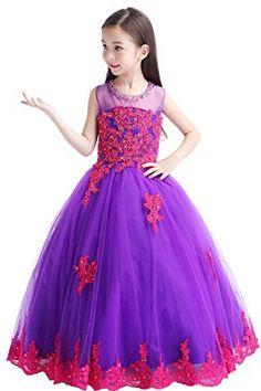 Hanayome High Neck Flower Girl Wedding Dresses R83 (6, Purple) | Baby Store