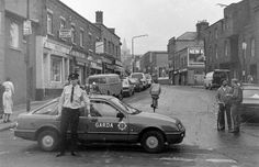 Kevin st Garda holds the traffic back due to a crash the other end of Meath st Dublin Street, Dublin City, Old Pictures, Old Photos, Photo Engraving, Dublin Ireland, Northern Ireland, Irish, Street View