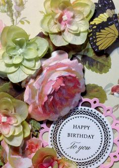 Anna Griffin Happy Birthday Card with Roses by MyPrettyPaperGifts