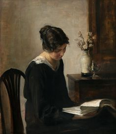 """""""Woman in Black"""" by Carl Holsøe (Danish, 1863-1935). Oil on board. Holsøe depicts a quietness that is very restful to the soul in this painting of the lady reading in black clothing. The light is soft, the interior is simple, yet attractive, and the woman appears to be at peace."""