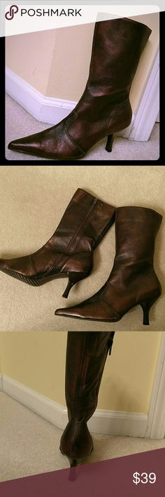 Vintage - Leather Copper Boots Leather boots made in Brazil. 3 inch heels, 8 inches in height. Like NEW! Vintage Shoes Heeled Boots