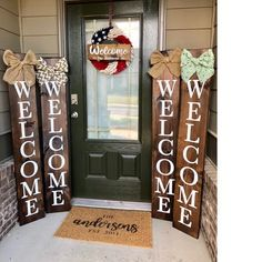 Black Welcome Sign With Buffalo Plaid Bow, Porch Welcome Sign, Vertical Welcome Sign, Wood Sign, Sign With Bow Rustic Wood Signs, Wooden Signs, Porches, Chevron Bow, Porch Welcome Sign, Soft Bed Sheets, House Of Turquoise, White Chalk Paint, Burlap Bows