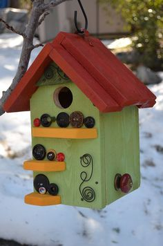 Birdhouse with button embellishments by BirdhousesByMichele