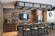 Modern home bar design ideas Rustic Basement Bar, Basement Bar Plans, Basement Bar Designs, Home Bar Designs, Modern Basement, Basement Remodeling, Basement Ideas, Basement Waterproofing, Basement Decorating