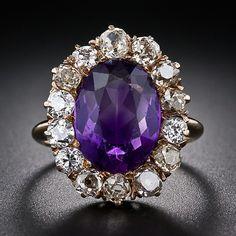 Amethyst And Diamond Ring, Amethyst Jewelry, Gems Jewelry, Fine Jewelry, Diamond Ice, Antique Jewelry, Vintage Jewelry, Wedding Rings Vintage, Rings Cool