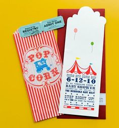 #carnival #invitations Love the use of popcorn bags as part of the invitation