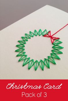 Pack of 3 - Handmade Modern Stitched Christmas Wreath Cards - Noel Boxed Christmas Cards, 3d Christmas, Homemade Christmas Cards, Printable Christmas Cards, Homemade Cards, Handmade Christmas, Elegant Christmas, Burlap Christmas, Primitive Christmas