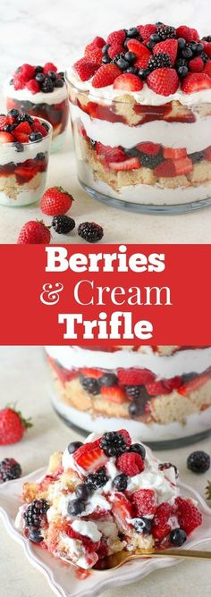 Berries and Cream Trifle - This easy trifle includes layers of cake, fresh berries, and whipped cream. Take a shortcut with your favorite store bought pound cake or angel food cake - or make your own. You'll love this simple and beautiful red, white, and Blue Desserts, Easy Desserts, Delicious Desserts, Angel Food Cake Desserts, Fruit Trifle Desserts, Angel Food Cake Trifle, Plated Desserts, 4th Of July Desserts, Dessert Trifles