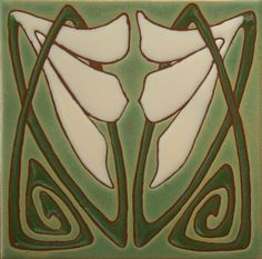 Classic Art Deco Artisan Tiles Green and Ivory | eBay