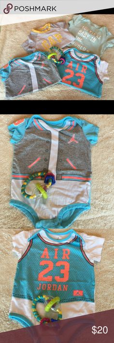 """Bundle of Jordan, Old Navy & Gap 4 items: all onesies: 1 Gap with GAP logo, 1 old navy with logo """"luckiest baby in the world"""" & 2 Jordan. All in good condition. Jordan, Gap & Old Navy Other"""