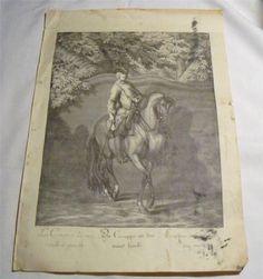 Ridinger Vintage Horse Print~Die Crouppe an der Wand Lincks~Classical Dressage #Vintage