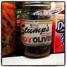 Stump's HOT OLIVES!  Made in Wisconsin.  My favorite since I first tried them in 1994!!