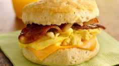 Grandwich made with Pilsbury Grands Biscuits. Start your day off right with these breakfast sandwiches!