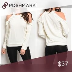 PREORDER Ivory Ruffle Detail Sweater Long sleeve sweater top featuring cold shoulders with ruffle details and a crew neckline. Sweaters