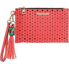 The Wristlet Coral (2.865 RUB) ❤ liked on Polyvore featuring bags, handbags, clutches, strap purse, red wristlet, red clutches, wristlet purse and red purse