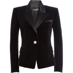 Balmain Velvet Blazer ($2,785) ❤ liked on Polyvore featuring outerwear, jackets, blazers, black, black jacket, balmain, balmain blazer, velvet jacket and balmain jacket