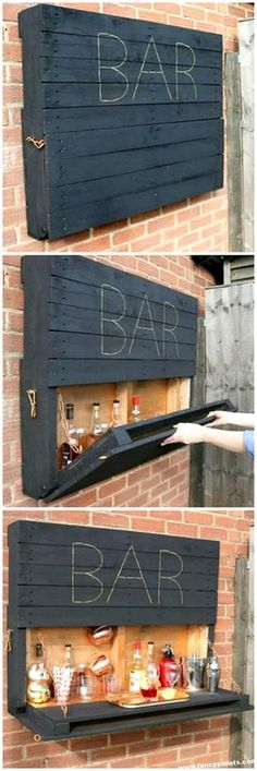 Elegant Wood Pallet Bar Shelve