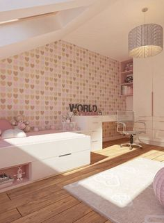 Nursery girl Pink Children wallpaper Hearts Pastel Room-For-Kids The post Design idea for a girl's room in pink design appeared first on Woman Casual - Kids and parenting Wallpaper Hearts, Kids Wallpaper, Feminine Bedroom, Trendy Bedroom, Bedroom Wallpaper Pastel, Baby Bedroom, Girls Bedroom, Sage Green Walls, White Painted Furniture