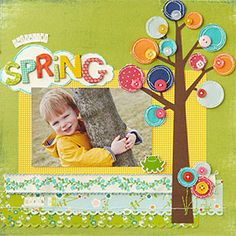 Button Tree Page- cute even for a card