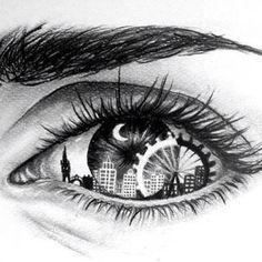 Eye Art with skyline & Ferris wheel Amazing Drawings, Cool Drawings, Amazing Art, Dancing Drawings, Unique Drawings, Pretty Drawings, Creative Drawing Ideas, Realistic Eye Drawing, Drawing An Eye