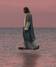 "Jesus walks on water---                                  Then Peter got down out of the boat, walked on the water and came toward Jesus. But when he saw the wind, he was afraid and, beginning to sink, cried out, ""Lord, save me!"" Immediately Jesus reached out his hand and caught him."