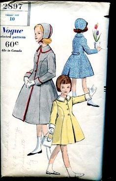 Vogue 2897 1950's- grandma made us these coats ...  mine was always red :-(