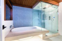 Mid-Century Modern Master Bathroom, Island Stone Wall Tile, Marble Floating Tub Surround