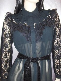 GOTHIC LOLITA AVANT GARDE SHEER Black Lace WICKED COUNTESS Victorian Style vintage 70s Dress M.    GET IT NOW~At KoolcatVintage