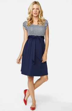 Maternal America Tie Front Maternity Dress at Nordstrom.com. A super-soft, chevron-patterned top meets a lustrous woven skirt to comprise a stylish color-blocked dress finished with a sash at the Empire waist.