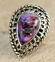 'Purple Copper Turquoise Sterling Silver Ring Size 7' is going up for auction at  7pm Wed, Jan 2 with a starting bid of $6.